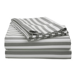 600 Thread Count Full Sheet Set Cotton Rich Cabana Stripe - Grey - Send yourself on a tropical vacation every night with this Cabana Inspired sheet set from Impressions. This design features stripes of white and the sets specified color and is made with a superior blend of materials that makes these sheets soft, easy to care for and wrinkle resistant. Set includes One Flat Sheet 81x96, One Fitted Sheet 54x75 and Two Pillowcases 20x30 each.