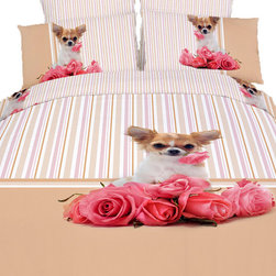 Dolce Mela - Cutie Pie, Cotton 6 Piece Animal Print Bedding Duvet Cover Sheet Set, Dolce Mela - Revitalize the mood of your bedroom with this modern playful and romantic bedding ensemble featuring a vivid print of an adorable dog and roses.