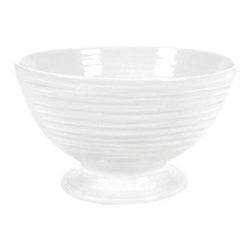 Portmeirion - Sophie Conran White Footed Bowl - 446175 - Shop for Bowls and Candy Dishes from Hayneedle.com! Beautiful yet practical the Sophie Conran White Footed Bowl is the perfect piece of dinnerware. Crafted from sturdy porcelain this bowl is safe for the freezer microwave oven and dishwasher. It was designed to go from prep to table. You'll love this versatility.About PortmeirionStrikingly beautiful eminently practical refreshingly affordable. These are the enduring values bequeathed to Portmeirion by its legendary co-founder and designer Susan Williams-Ellis. Her father architect Sir Clough Williams-Ellis was the designer of Portmeirion the North Wales village whose fanciful architecture has drawn tourists and artists from around the world (including the creators of the classic 1960s TV show The Prisoner). Inspired by her fine arts training and creation of ceramic gifts for the village's gift shop Susan Williams-Ellis (along with her husband Euan Cooper-Willis) founded Portmeirion Pottery in 1960. After 50+ years of innovation the Portmeirion Group is not only an icon of British design but also a testament to the extraordinarily creative life of Susan Williams-Ellis.The style of Portmeirion dinnerware and serveware is marked by a passion for both pottery manufacturing and trend-setting design. Beautiful tactile nature-inspired patterns are a defining quality of Portmeirion housewares from its world-renowned botanical designs modeled on antiquarian books to the breezy natural colors of its porcelain and earthenware. Today the Portmeirion Group's design legacy continues to evolve through iconic brands such as Spode the Pomona Classics collection and the award-winning collaboration of Sophie Conran for Portmeirion. Sophie Conran for Portmeirion:Successful collaborations have provided design inspiration throughout Sophie Conran's life. Her father designer Sir Terence Conran and mother food writer Caroline Conran have been the pillars of her eclectic mix of cookin