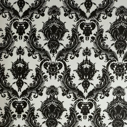 LOLLIPROPS, INC., LPI - Damsel Removable Wallpaper, Black & White - This classic design with a modern color palette is perfect for a feminine space. If you're renting you can simply peel and stick this pretty pattern on a wall. When it comes time to move, just remove it to reveal the unharmed paint. It's a great temporary design solution.