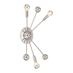 """Elements - Elements Supernova Modern / Contemporary Wall Sconce X-W3-0428 - The Supernova wall sconce is one of 6 different styles in this collection.  The high polished chrome silhouette is enhanced with 3 silver tipped 40 watt bulbs, which are included.  Measuring 19""""H x 11.5""""W x 6.25""""E, this sconce must be hardwired and assemb"""