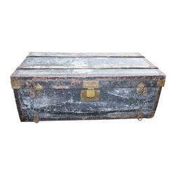 Black Aluminum Trunk - Turn of the century traveling/shipping trunk with tray; lined with canvas.