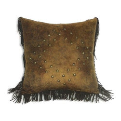 "Canaan - Mustang Suede Studs & Fringe 18"" x 18"" Throw Pillow - Mustang suede studs and fringe 18"" x 18"" throw pillow with stud design and fringe trim. Measures 18"" x 18"" made with a blown in foam. These are custom made in the U.S.A and take 4-6 weeks lead time for production."