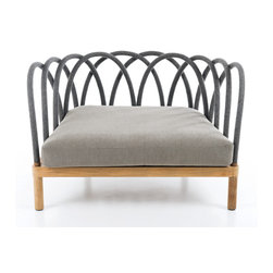 INTERIEURS OUTDOOR COLLECTION BY UNOPIU - Part of Les Arcs collection, this beautifully designed armchair will look fabulous by the pool, on the terrace or in the Living Room. Introduced by Unopiu for The Interieurs outdoor collection.