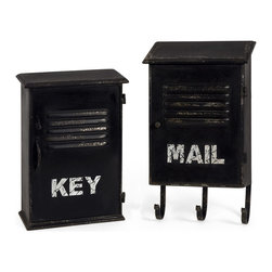 IMAX - Alastor 'Key' & 'Mail' Box Set - Keep your mail and keys effortlessly organized with this iron box set.   Includes two boxes Key: 9'' W x 12.5'' H x 3.5'' D Mail: 9'' W x 15.25'' H x 3.5'' D Iron Imported