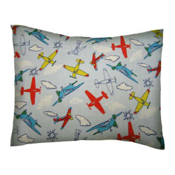 SheetWorld - SheetWorld Twin Pillow Case - Percale Pillow Case - Kiddie Airplanes-Made in USA - Twin pillow case. Made of an all cotton flannel fabric. Side Opening. Features the one and only kiddie airplanes!