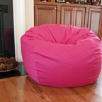 "Bean Bag Chairs for Girls Rooms - Ahh! Products organic cotton bean bag chair in hot pink. Remove and wash cover, water-repel liner. 37"" wide large size. 10 year warranty, Made in USA."