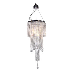 Warehouse of Tiffany - Donnabelle Crystal Chandelier - This Crystal Chandelier is a modern take on a mid-century style. The chandelier features a chrome finish and plentiful crystals cascading from the top.Setting: IndoorFixture finish: ChromeNumber of lights: 3Requires three (3) 40-watt bulb (not included)Dimensions: 31 inches high x 14 inch diameter shadeMaterials: Metal and crystalCSA Listed, ETL Listed, UL Listed