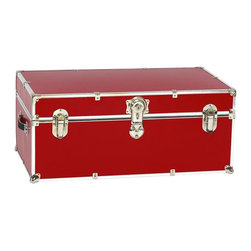 Artisans Domestic Toy Box Locked Storage Trunk, Red - Safety First! A superior quality, heavy duty toy trunk that's designed for a child's well-being, yet looks handsome in any room. The hand-crafted American made Artisans Domestic Toybox is constructed from the highest quality components. This treasure chest incorporates several safety features to insure that it's kid friendly. Those include small ventilation holes as well as specially designed, American made soft-close lid supports (2). The Artisans Domestic Toybox is waterproof, dent resistant and scratch resistant. Made of 1000 Cordura sheathing, Baltic Birch, and Laminate. They are even strong enough to stand on. Now that's a great toybox!