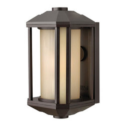 Hinkley Lighting - Hinkley Lighting 1394BZ-GU24 Castelle 1 Light Outdoor Wall Lights in Bronze - Castelle's transitional style features clean lines and a ribbed etched glass cylinder accented by etched amber corner panels, adding to its sophisticated look.