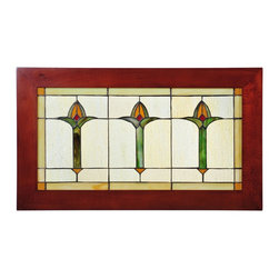 Meyda Tiffany - Meyda Tiffany Bud Trio Window X-16979 - Three stylized flower buds of Avocado Green, Honeyand Coral adorn this Wispy Beige rippled glass window.The window is handcrafted utilizing the copperfoilconstruction process and stained art glass encased in awood frame. Mounting bracket and chain are inc