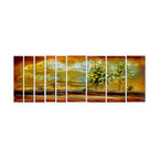 Pure Art - Golden Horizons Modern Tree Art Set of 9 - A glorious, 9-panel artwork that depicts a landscape infused in gold. The use of light and dark colors and the illusion of looking off into the distance draw the viewer into this artwork. The play of light in the clouds and tree tops provide a sense of motion and energy to this oversized metal art.Made with top grade aluminum material and handcrafted with the use of special colors, it is a very appealing piece that sticks out with its genuine glow. Easy to hang and clean.