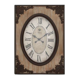 Benzara - Country Style Wood Wall Clock - Country Style Wood Wall Clock. Featuring an uncluttered and flawless design, this wall clock is very subtle and clean cut. It comes in the following dimensions - 22W x 2D x 30H. Some assembly may be required.