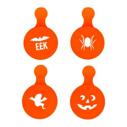 Duff Halloween Cupcake Stencils - Use these stencils to create white Halloween decorations with powdered sugar on chocolate cupcakes.