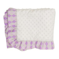 Love Birds Blanket - Purple argyle ruffles trim the luxuriously soft Love Birds Blanket. In a poly/cotton blend fabric that's easy to machine wash, this blanket features the purity of white with a fun texture. Part of the Love Birds collection. About Pam Grace CreationsPam Grace Creations was created by Pam Val, a loving wife and mother of four, in January of 2006. Pam had seven years of experience in the baby bedding and nursery decor industry from working with her sister to run their own baby product business. She brought this experience and knowledge of the industry to her own company, and Pam Grace Creations was born. Pam is committed to providing new parents a combination of style, affordability, and convenience, and to that end she created her Nursery-to-Go 10 piece baby bedding sets. These sets include everything parents need to outfit their new baby's room in a range of styles and color palettes at an affordable price--without having to hunt down their nursery items piece by piece.