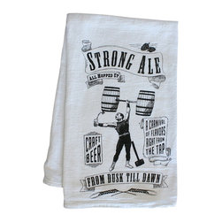 "Craft Beer Hound LLC - Home Bar Towel - Strong Ale - For lovers of big, strong beers and winter warmers, a bar towel featuring our Strong Ale graphic. These 100% cotton, low-lint flour sack towels are perfect for drying your beer glasses. A great addition to any kitchen or home bar. Measures 29"" x 29""."