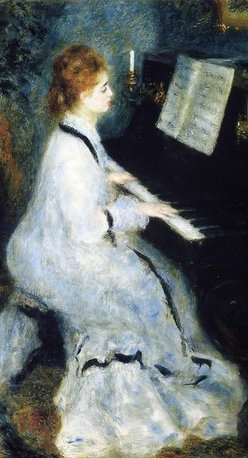"""Pierre Auguste Renoir A Young Woman at the Piano   Print - 16"""" x 20"""" Pierre Auguste Renoir A Young Woman at the Piano premium archival print reproduced to meet museum quality standards. Our museum quality archival prints are produced using high-precision print technology for a more accurate reproduction printed on high quality, heavyweight matte presentation paper with fade-resistant, archival inks. Our progressive business model allows us to offer works of art to you at the best wholesale pricing, significantly less than art gallery prices, affordable to all. This line of artwork is produced with extra white border space (if you choose to have it framed, for your framer to work with to frame properly or utilize a larger mat and/or frame).  We present a comprehensive collection of exceptional art reproductions byPierre Auguste Renoir."""