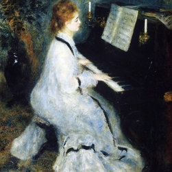 "Pierre Auguste Renoir A Young Woman at the Piano   Print - 16"" x 20"" Pierre Auguste Renoir A Young Woman at the Piano premium archival print reproduced to meet museum quality standards. Our museum quality archival prints are produced using high-precision print technology for a more accurate reproduction printed on high quality, heavyweight matte presentation paper with fade-resistant, archival inks. Our progressive business model allows us to offer works of art to you at the best wholesale pricing, significantly less than art gallery prices, affordable to all. This line of artwork is produced with extra white border space (if you choose to have it framed, for your framer to work with to frame properly or utilize a larger mat and/or frame).  We present a comprehensive collection of exceptional art reproductions byPierre Auguste Renoir."