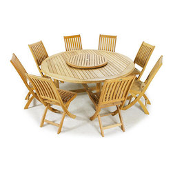 Westminster Teak Furniture - Buckingham Teak Dining Set for 8 - 6 Foot Round Teak Table with 8 Teak Folding Chairs.  Umbrella Ready. Quality Rated 'Best Overall' by Wall Street Journal.  Lifetime Warranty, Money Back Guarantee.