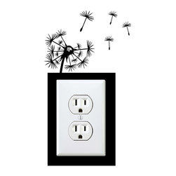 StickONmania - Outlet Dandelion Sticker - a vinyl decal sticker to decorate a wall outlet.  Decorate your home with original vinyl decals made to order in our shop located in the USA. We only use the best equipment and materials to guarantee the everlasting quality of each vinyl sticker. Our original wall art design stickers are easy to apply on most flat surfaces, including slightly textured walls, windows, mirrors, or any smooth surface. Some wall decals may come in multiple pieces due to the size of the design, different sizes of most of our vinyl stickers are available, please message us for a quote. Interior wall decor stickers come with a MATTE finish that is easier to remove from painted surfaces but Exterior stickers for cars,  bathrooms and refrigerators come with a stickier GLOSSY finish that can also be used for exterior purposes. We DO NOT recommend using glossy finish stickers on walls. All of our Vinyl wall decals are removable but not re-positionable, simply peel and stick, no glue or chemicals needed. Our decals always come with instructions and if you order from Houzz we will always add a small thank you gift.
