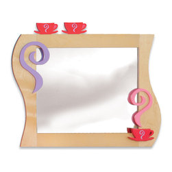 "Room Magic - Girl Teaset Wall Mirror - Swirls of steam and pink teacups perch on this beautiful mirror, made of birch veneers finished in brightly colored stains. 24""L, 33""H"