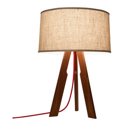 Ample - Solstice Table Lamp, Linen Shade / Red Cord - The Solstice Table Lamp, a smaller version of our popular floor lamp, is great on a credenza, next to the couch, at the bedside, on your desk - really anywhere you need a modern touch or a little extra radiance to get you through the day.