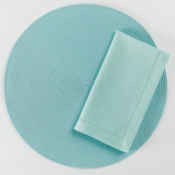 "Origin Crafts - Lt. aqua hemstitch napkins set of 4 - Lt. Aqua Hemstitch Napkins Set of 4 Napkins & Placemats sold separately. Napkins & Placemats sold separately. Sets of four. 100% cotton. Machine wash cold separately; tumble dry low. Dimensions: Napkins - 20"" x 20"" By Tag Ltd. - Tag Ltd. is a supplier of decorative accessories. Ships out in 2-3"