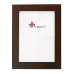 Lawrence Frames - 11x14 Walnut Wood Picture Frame - Contemporary Design - Contemporary walnut brown wood picture frame.  High quality black wood backing with an easel for vertical or horizontal table top display, and hangers for vertical or horizontal wall mounting.    Hand finished 11x14 wood picture frame is made with exceptional workmanship and comes individually boxed.