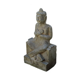 Golden Lotus - Unique Chinese Antique Hand Carving Sitting Buddha Statue - This is a Chinese antique sitting Buddha statue which is made of solid stone.  Look at the peaceful face and sitting position, and it is perfect to put at your entrance of hall way, or decorate your garden.