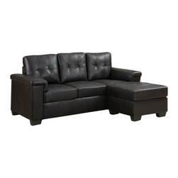 Monarch Specialties - Monarch Specialties 8705BR Sectional in Dark Brown Leather - This contemporary dark brown bonded leather sectional sofa will give your room a sophisticated style, offering enough space for the whole family to relax. The soft tufted detailing of the back and deep seat cushions will keep you cozy and the extra padded arms add the perfect finishing touch for your absolute comfort.