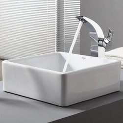 Kraus - Kraus White Square Ceramic Sink and Illusio Faucet - Add a touch of elegance to your bathroom with a ceramic sink combo from Kraus.
