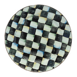 Courtly Check Enamel Charger/Plate | MacKenzie-Childs - The perfect buffet plate, our Courtly Check® Enamel Charger shines with the high-contrast gloss of our most popular pattern and looks even more delicious piled high with second or third helpings. Finally, a plate that can keep up with the heartiest of appetites, and look good doing it. The comfort food of dinnerware, our most popular pattern is casual and cozy, with a subtle jewel-tone palette woven by an artisan's brush through the glossy, hand-painted, high-contrast checks.
