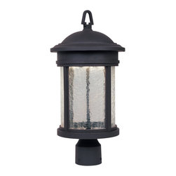 Designers Fountain - Designers Fountain Prado LED Transitional Outdoor Post Lantern X-BRO-63113DEL - This Designers Fountain outdoor post lantern from the Prado Collection features a hook finial that hints at early American influencing. This LED outdoor lighting fixture comes constructed of cast aluminum that has been molded into a stylish cylindrical lantern shape. An Oil Rubbed Bronze finish and clear crackle glass shade complete the look.