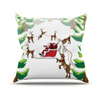 """Kess InHouse - KESS Original """"Forest Sleigh Scene"""" Holiday Illustration Throw Pillow (Outdoor, - Decorate your backyard, patio or even take it on a picnic with the Kess Inhouse outdoor throw pillow! Complete your backyard by adding unique artwork, patterns, illustrations and colors! Be the envy of your neighbors and friends with this long lasting outdoor artistic and innovative pillow. These pillows are printed on both sides for added pizzazz!"""