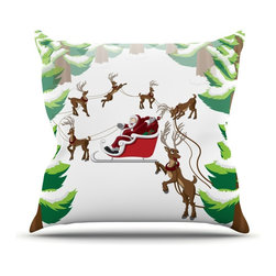 "Kess InHouse - KESS Original ""Forest Sleigh Scene"" Holiday Illustration Throw Pillow (Outdoor, - Decorate your backyard, patio or even take it on a picnic with the Kess Inhouse outdoor throw pillow! Complete your backyard by adding unique artwork, patterns, illustrations and colors! Be the envy of your neighbors and friends with this long lasting outdoor artistic and innovative pillow. These pillows are printed on both sides for added pizzazz!"
