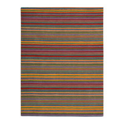 "Nourison - Nourison Skyland SKY02 3'6"" x 5'6"" Stripe Area Rug 00709 - Add excitement to a room with this marvelous work resplendent in texture and color. Bold stripes in fine lines with hand carved accents create a field of scintillating contrast. The contemporary spectrum encompassing blues, reds, violets, orange and yellow has a wonderful primal energy."
