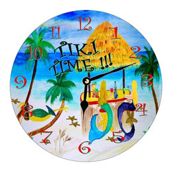 USA - Tiki Time Mermaids Wall Clock - Enjoy passing time with my dye sublimated art work on a beautiful 11.25'' hard board clock with a wonderful glossy finish. Clocks are a durable 1/4 '' thick and require a AA battery not included. Made in the USA.