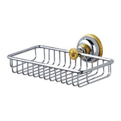 Versace - Versace Classic Chrome Gold Bath Caddy / Sponge Holder - Versace Wall Mounted Bath Caddy / Sponge Holder