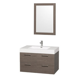 "Wyndham Collection - Wyndham Collection 36"" Amare Grey Oak Single Sink Vanity w/ Acrylic-Resin Top - Modern clean lines and a truly elegant design aesthetic meet affordability in the Wyndham Collection Amare Vanity. Available with green glass or pure white man-made stone counters, and featuring soft close door hinges and drawer glides, you'll never hear a noisy door again! Meticulously finished with brushed Chrome hardware, the attention to detail on this elegant contemporary vanity is unrivalled."