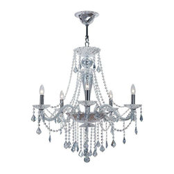 Crystorama Lighting - Crystorama Lighting 9836-CH-IB Simone Traditional / Transitional Chandelier - Crystorama Lighting 9836-CH-IB Simone Traditional / Transitional Chandelier in Polished Chrome With Ice Blue Hand Cut Crystal