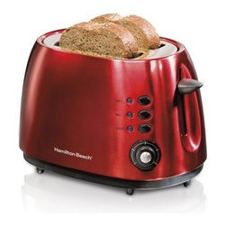 Hamilton Beach 22524E 2 Slice Metal Toaster - Red - The Hamilton Beach 22524E 2 Slice Metal Toaster – Red is the perfect way to add style and functionality to your morning. This handsome toaster makes an impression with a candy apple red finish and features extra wide slots for bagels or Texas-sized slices. Versatile heat settings and a cool touch exterior makes it the hot rod of your countertop appliances.About Hamilton BeachOne of the country's leading distributors of small kitchen appliances, Hamilton Beach Brands, Inc. sells over 35 million appliances every year. The company's most famous brands -- Hamilton Beach, Eclectrics, Proctor Silex, and TrueAir -- are found in households across America, Canada, and Mexico. Hamilton Beach takes immense pride in their product quality, wide variety of options, superior customer service, and brand name strength and remains committed to serving customers through Good Thinking applied to the style and function in all of their small electric appliances.