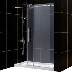 DreamLine - DreamLine Enigma-X Fully Frameless Sliding Shower Door and SlimLine - This DreamLine kit pairs the ENIGMA-X sliding shower door with a coordinating SlimLine shower base for a winning combination. The ENIGMA-X sliding shower door delivers a sleek, Fully frameless design, premium glass and high functioning performance for the look and feel of custom glass at an exceptional value. The coordinating SlimLine shower base incorporates a low profile design for an unobtrusive modern look. Go for the streamlined look and urban style of the ENIGMA-X frameless sliding shower door and coordinating SlimLine shower base for your bathroom renovation. Items included: Enigma-X Shower Door and 32 in. x 60 in. Single Threshold Shower BaseOverall kit dimensions: 32 in. D x 60 in. W x 78 3/4 in. HEnigma-X Shower Door:,  56 - 60 in. W x 76 in. H ,  Premium 3/8 (10 mm) thick clear tempered glass,  Brushed or polished stainless steel hardware finish,  Fully frameless glass design,  Width installation adjustability: 56 - 60 in.,  Out-of-plumb installation adjustability: No,  Advanced fully frameless glass design,  Effortless sliding operation with large wheel assemblies on a stainless steel track,  Includes anti-splash threshold to prevent water spillage (requires minimum threshold depth of 3 3/4 in.),  DreamLine exclusive Clear Glass protective anti-limescale coating,  Top bar may be shortened by cutting down up to 4 in. ,  Professional installation required,  Door opening: 22 - 26 in.,  Stationary panel: 29 1/8 in.,  Reversible for right or left door opening installation,  Material: Tempered Glass, Stainless Steel,  Tempered glass ANSI certified32 in. x 60 in. Single Threshold Shower Base:,  High quality scratch and stain resistant acrylic,  Slip-resistant textured floor for safe showering,  Integrated tile flange for easy installation and waterproofing,  Fiberglass reinforcement for durability,  cUPC certified,  Drain not included,  Center, right, left drain configurations,  P