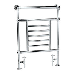 Hudson Reed - Traditional Heated Towel Radiator Rail Chrome Heater Bathroom & Valves - Traditional Heated Towel Radiator manufactured from quality Chrome Plated 1.3 inch brass tubing for a true period look. Ideal for use in the bathroom, kitchen cloakrooms etc. Traditional Heated Towel Radiator Details  Output: 463 Watts (1579 BTUs) Pipe Centres: 18 Tube Diameter: 1.3 Max Projection From Wall: 6 Max Height: 37 Max Width: 26 Floor To Centre Of Tapping: 4 Wall To Centre Of Tapping: 5 Warranty: 10 years Supplied complete with radiator valves as shown.  Please Note: Our radiators are designed for forced circulation closed loop systems only. They are not compatible with open loop, gravity hot water or steam systems.