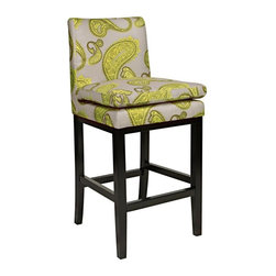 angelo:HOME - angelo:HOME Marnie 30 in. Bar Stool - Modern Lemongrass Paisley Multicolor - BS3 - Shop for Stools from Hayneedle.com! Prints can add instant pop to a design space especially when they're as stylish as the angelo:HOME Marnie 30 in. Bar Stool - Modern Lemongrass Paisley. Big bold paisley in a mod and marvelous Lemongrass shade dances over the neutral gray background. The 100% polyester upholstery covers the seat and back not to mention the attached pillow top seat cushion which is extra-cozy. Below the wood frame is finished in a rich versatile espresso shade.About angelo:HOME:When he was 6 Angelo Surmelis and his family moved from Greece to the United States. In their new home 6-year-old Angelo started dragging furniture around rearranging it. From that early age he believed that your space - and the way it's arranged - can change the way you feel. This philosophy has landed him on design series on TLC Lifetime The Style Network and HGTV as well as several different television talk shows. Now with Angelo's line of furniture and accessories you can change your space - and the way you feel - quickly and affordably.