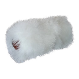 Gambrell Renard - Gambrell Renard Mongolian Lamb with Brown Leather Bolster Pillow - Color: White Mongolian Lamb with Brown Leather Trim