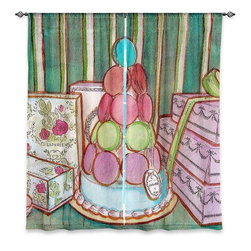 "DiaNoche Designs - Window Curtains Lined - Diana Evans Laduree Window Shopping II - Purchasing window curtains just got easier and better! Create a designer look to any of your living spaces with our decorative and unique ""Lined Window Curtains."" Perfect for the living room, dining room or bedroom, these artistic curtains are an easy and inexpensive way to add color and style when decorating your home.  This is a woven poly material that filters outside light and creates a privacy barrier.  Each package includes two easy-to-hang, 3 inch diameter pole-pocket curtain panels.  The width listed is the total measurement of the two panels.  Curtain rod sold separately. Easy care, machine wash cold, tumbles dry low, iron low if needed.  Made in USA and Imported."