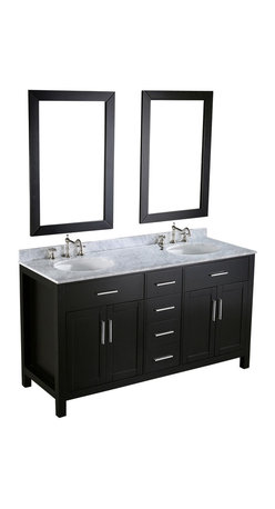 Bosconi - 60'' Bosconi SB-252-4 Vanity Set - See it all in black and white: This sleek, contemporary double vanity offers a striking statement for your bathroom, in ebony black and white Carrara marble.