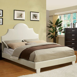 """Hokku Designs - Blanco Platform Bed - The elegant white padded leatherette platform bed features a beautiful English style headboard and equipped with a European style slat kit. Features: -Finish: White. -Material: Solid wood. -Leatherette upholstered headboard. -Headboard features high-arching curves that is defined by detailed stitching for depth and dimensions. -Well padded headboard for leaning against when reading in bed. -Upholstered side rails and a low profile footboard set. -Great structural rigidity. -Mattress ready European style slats support system, slat kit included. -30 Days warranty. Dimensions: -Twin: 58.75"""" H x 42"""" W x 81.75"""" D, 44.5 lbs. -Full: 58.75"""" H x 57"""" W x 81.75"""" D, 56.5 lbs. -Queen: 58.75"""" H x 63"""" W x 85"""" D, 60 lbs."""