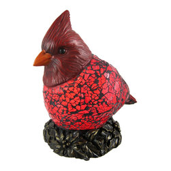 Zeckos - Red Crackle Glass Cardinal Accent Lamp Bird - This beautiful red crackle glass cardinal lamp adds the perfect accent to desks or nightstands of bird lovers. Measuring 6 1/2 inches tall, 4 1/2 inches wide and 4 inches deep, the lamp features an antiqued bronze finished metal base and cardinal head, with the body of the bird made of red crackled glass. The lamp is brand new, never used or displayed. It uses one nightlight style bulb (included). It makes a great gift idea. We have a very limited supply of these, so don`t delay. Get yours now!
