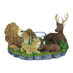TLT - 6 Inch Hand Painted Resin Lion and Deer Laying Down Candle Holder - This gorgeous 6 Inch Hand Painted Resin Lion and Deer Laying Down Candle Holder has the finest details and highest quality you will find anywhere! 6 Inch Hand Painted Resin Lion and Deer Laying Down Candle Holder is truly remarkable.